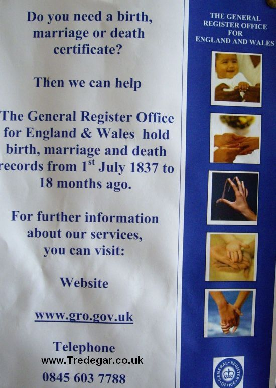 Tredegar forum after a birth marriage or death - Registry office of births marriages and deaths ...