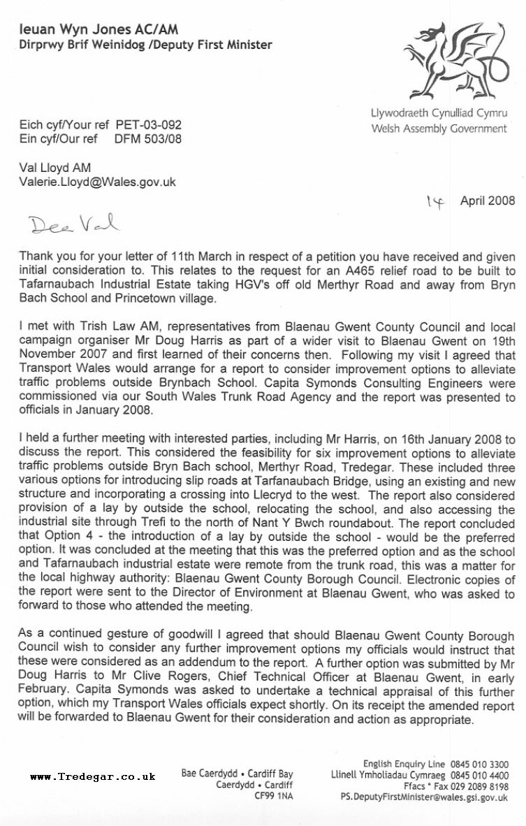 Letter From Welsh Assembly